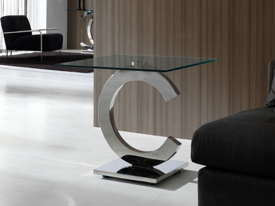 Calima corner table square 60cm steel/Glass