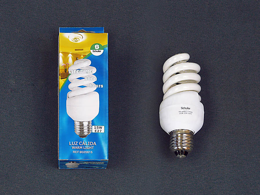 Spiral lightbulb COM.15W E27 3000Kº