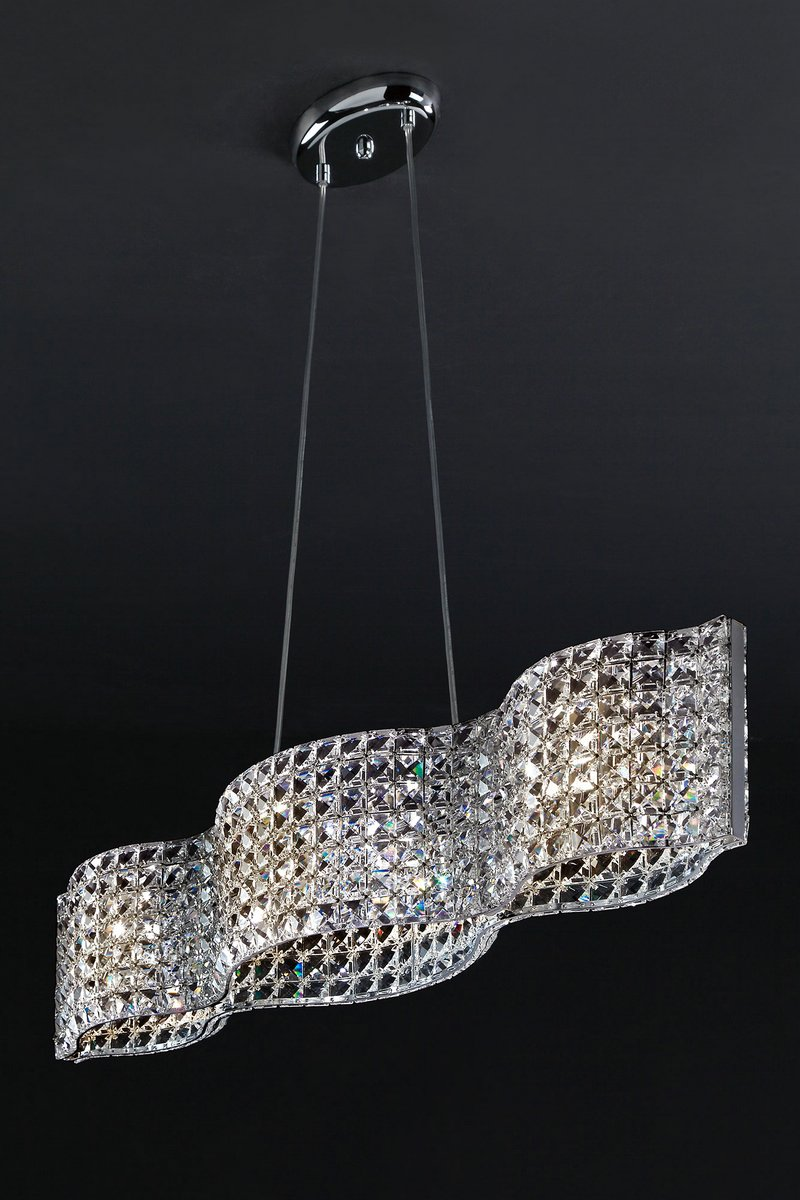 Onda Lamp G9 4x53W long Faceted glass mesh