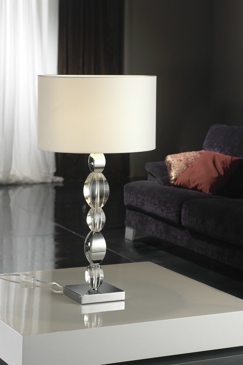 Domine Table Lamp Chrome Glass