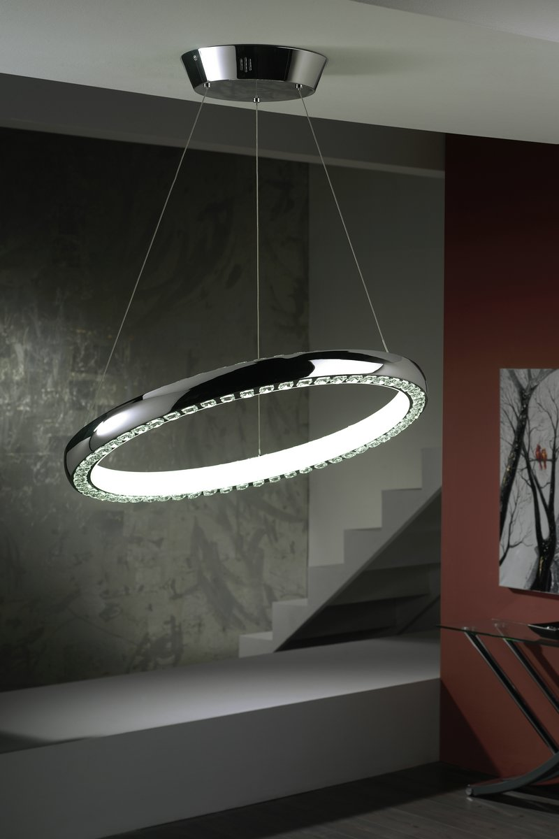 Star Pendant Lamp Round LED (Cold Light 4000ºK) Chrome