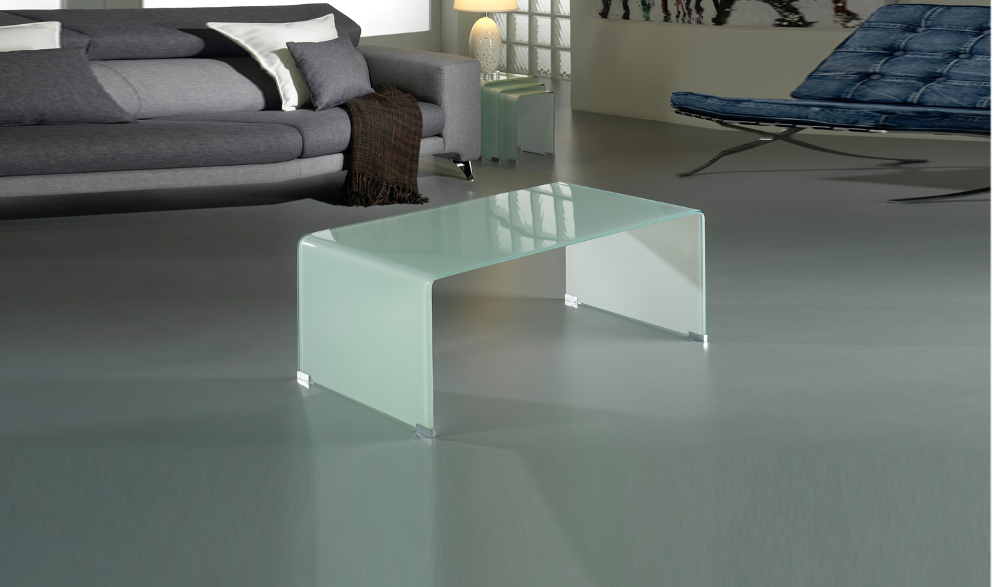 Glass coffee table white