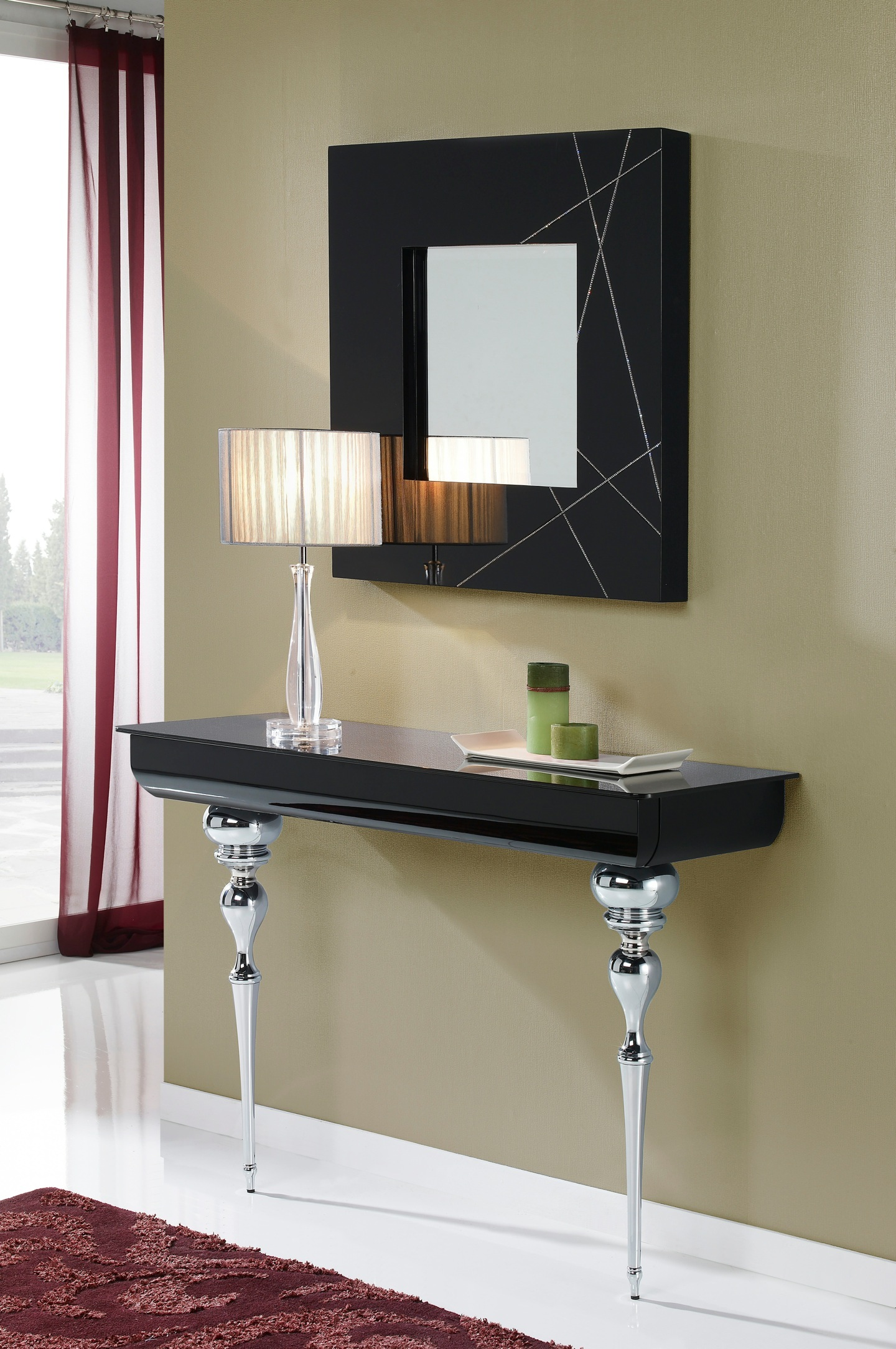 Clarice console Black + legs Chrome/Glass