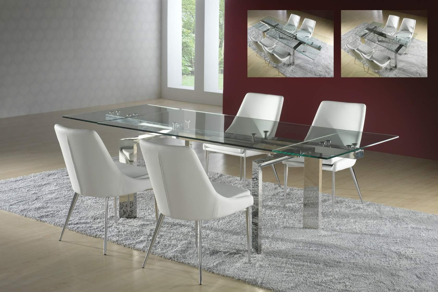 Dublin mesa de comedor extensible 160x78,5x90cm Acero y cristal