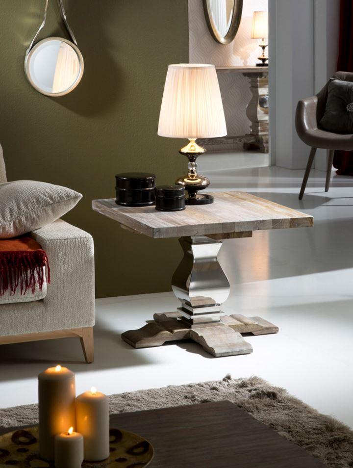 Antica mesa de rincón 55x70cm - Madera olmo con patina blanca
