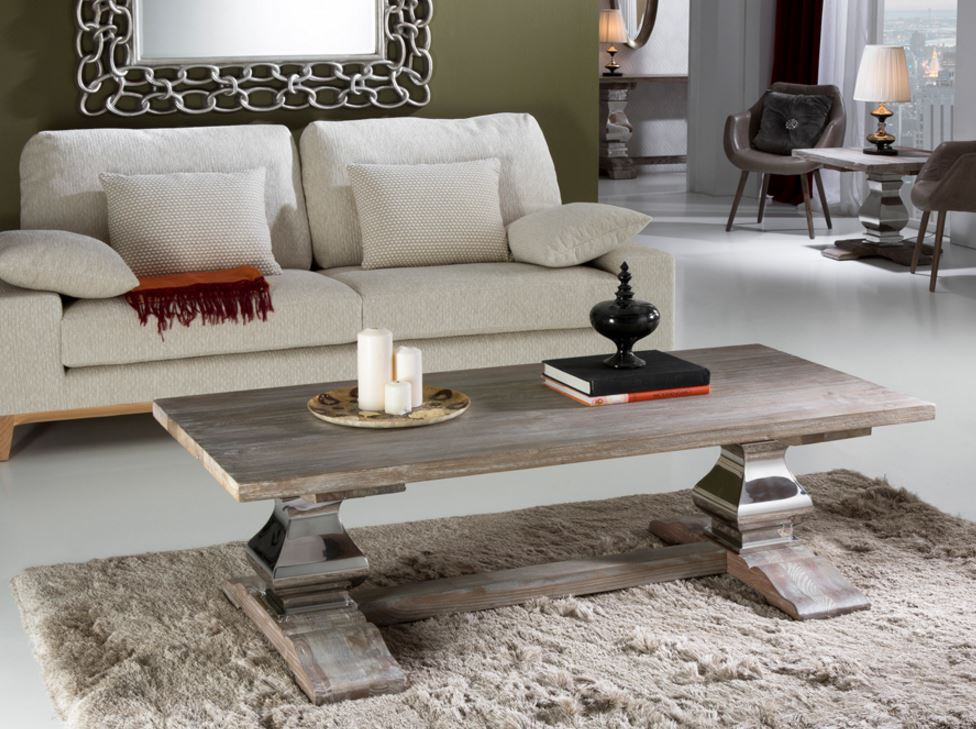 Antica table centro 50,5x160cm - Wood olmo with patina white