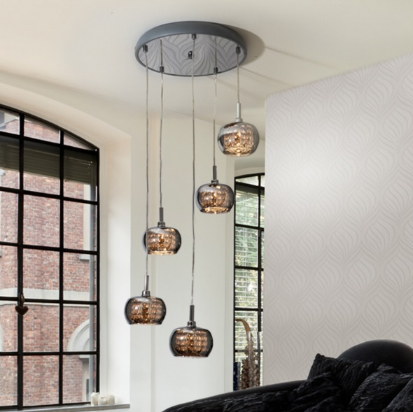 Arián Lamp Pendant Lamp circular brillo 5L G9 LED 4W Mirrored glass