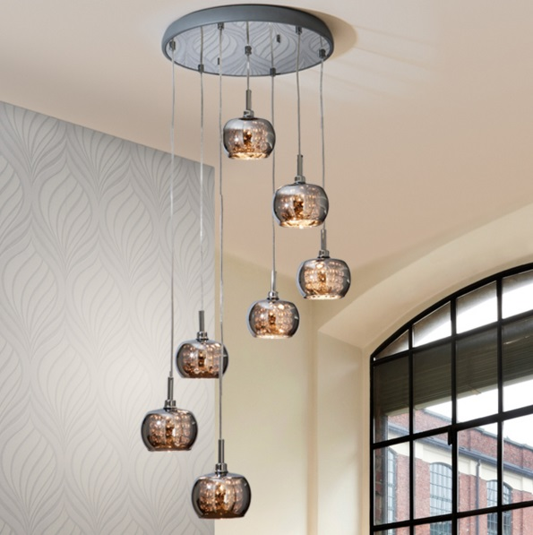 Arián Lamp Pendant Lamp brillo 7L G9 LED 4W Mirrored glass