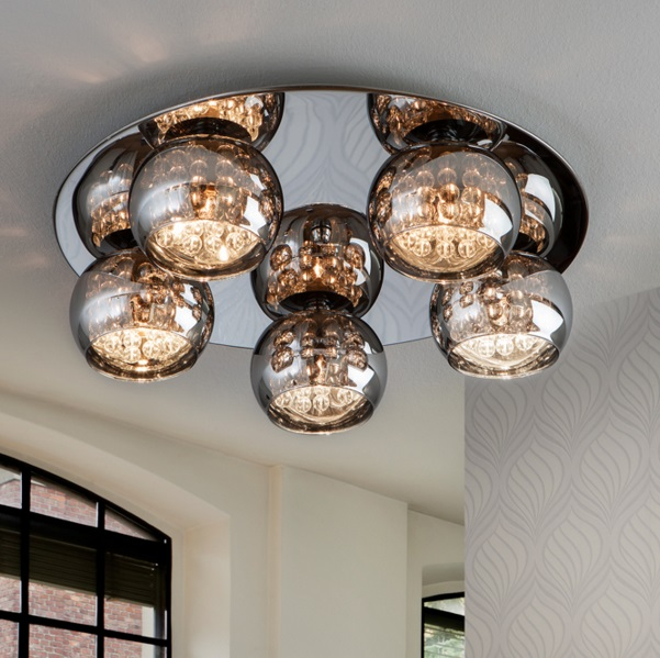 Arián ceiling lamp Round brillo 5L G9 LED 4W Mirrored glass