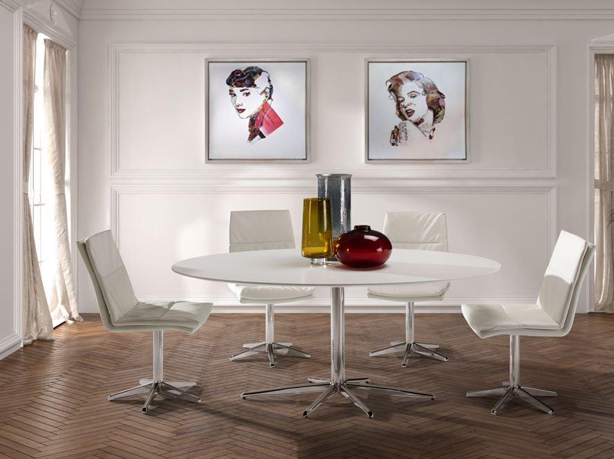 Atlanta table de comedor 75x170cm - Structure Chrome couvercle blanc mat