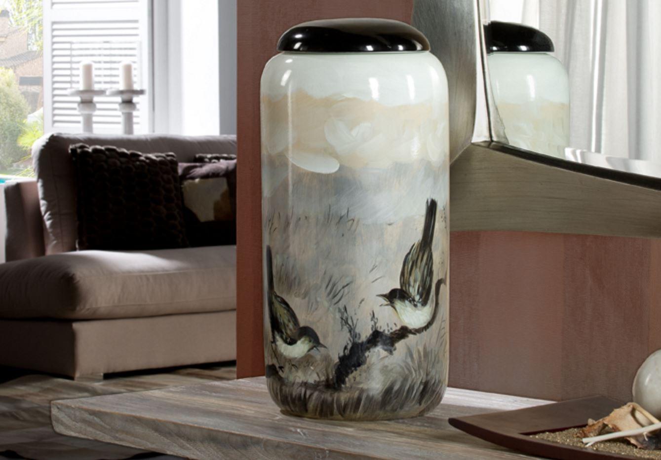 Aves Vasija con copertura 47x22cm - ceramica pintada a mano