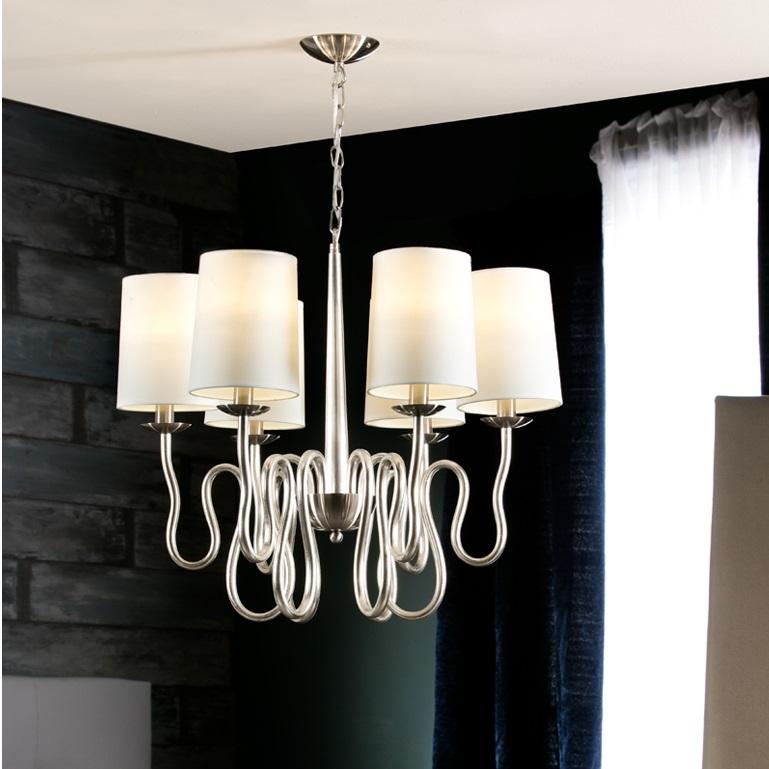 Briana Lamp Pendant Lamp 62x70cm 6xLED 4w - Silver Leaf and Niquel Satin