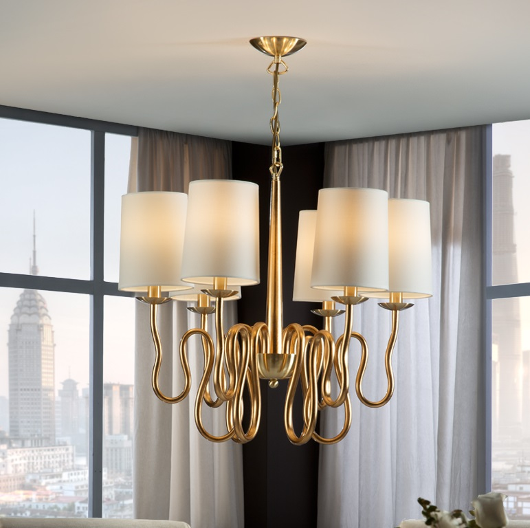 Briana Lamp Pendant Lamp 62x70cm 6xLED 4w - Gold Leaf and polished brass