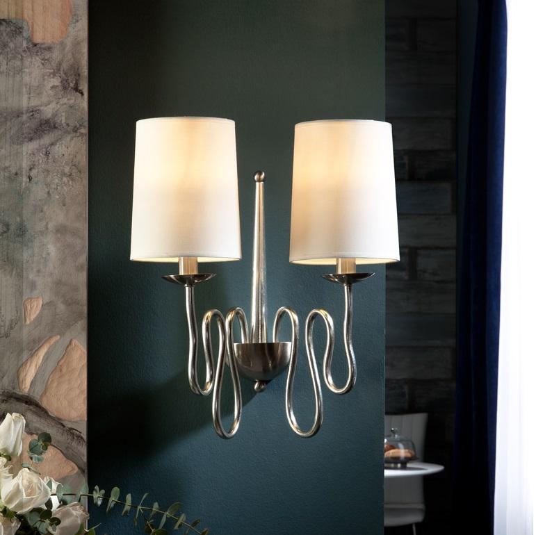 Briana Wall Lamp 47x41cm 2xLED 4w - Silver Leaf and Niquel Satin