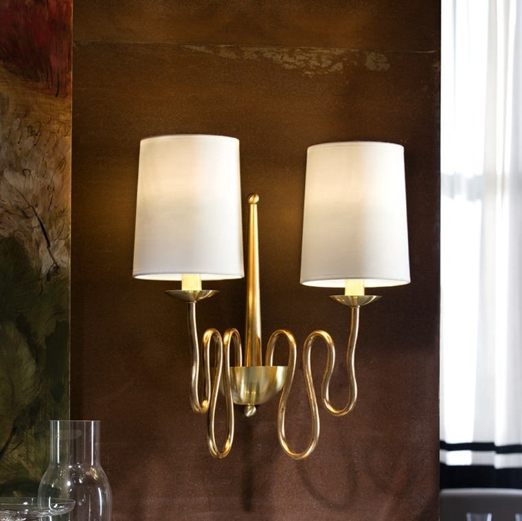 Briana Wall Lamp 47x41cm 2xLED 4w - Gold Leaf and polished brass