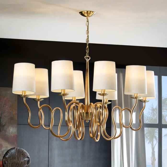 Briana Lamp Pendant Lamp 62x111cm 8xLED 4w - Gold Leaf and polished brass