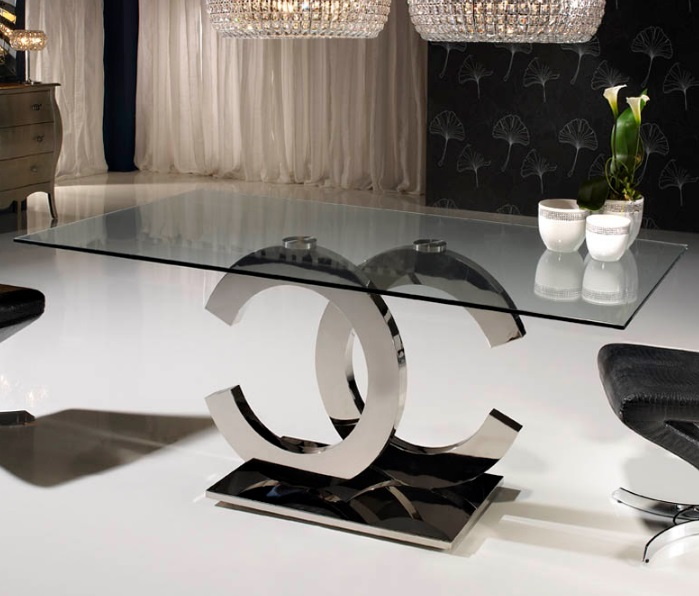 Calima table of salón rectangular 180cm steel/Glass