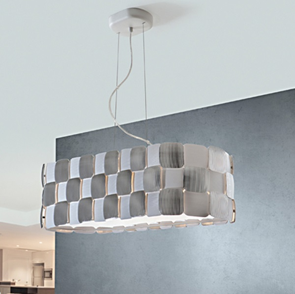 Coras Pendant Lamp oval 4L E27 LED 10W white matt and Chrome