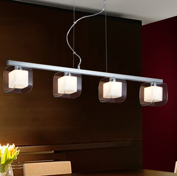 Cube Pendant Lamp 4 L G9 28W Chrome