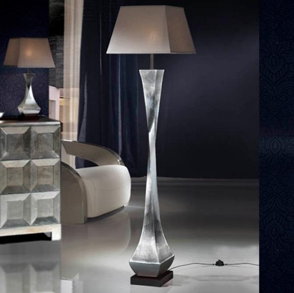 Deco Lámpara de Pie E27 60W Pan de plata