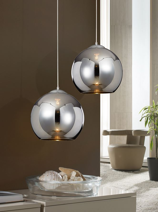 Sphere Lamp Pendant Lamp 36x35cm 1xE27 LED 10W - Chrome lampshade Glass espejado chromed