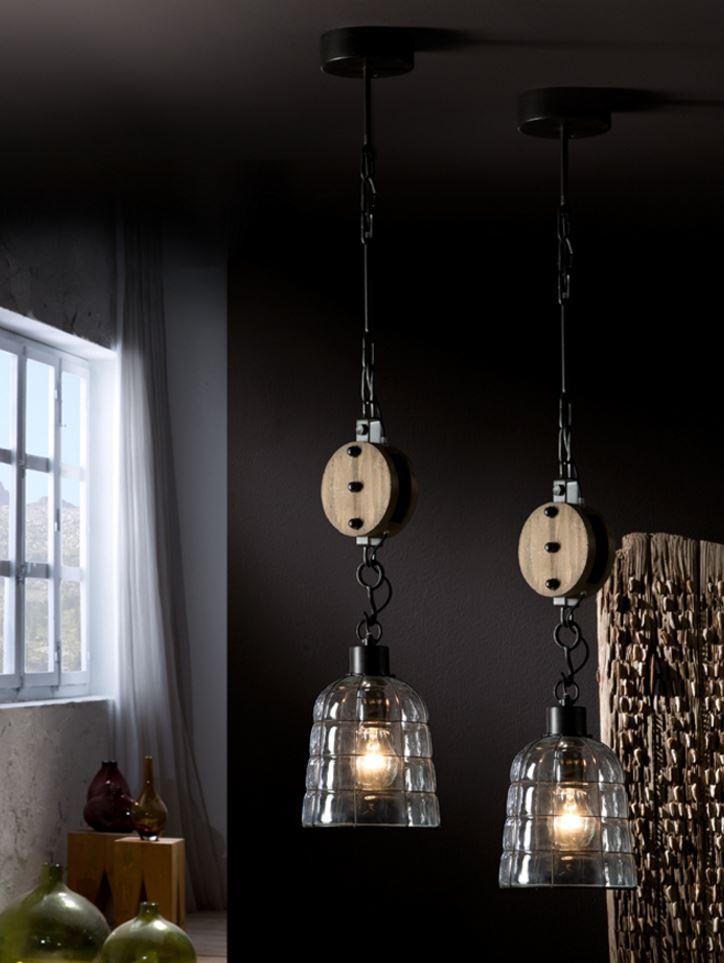 Estiba Lampe Pendelleuchte 57x15cm 1xE27 LED 10W - Schwarz lampenschirm Glas soplado