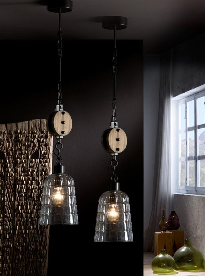 Estiba Lamp Pendant Lamp 62x18cm 1xE27 LED 10W - Black lampshade Glass soplado