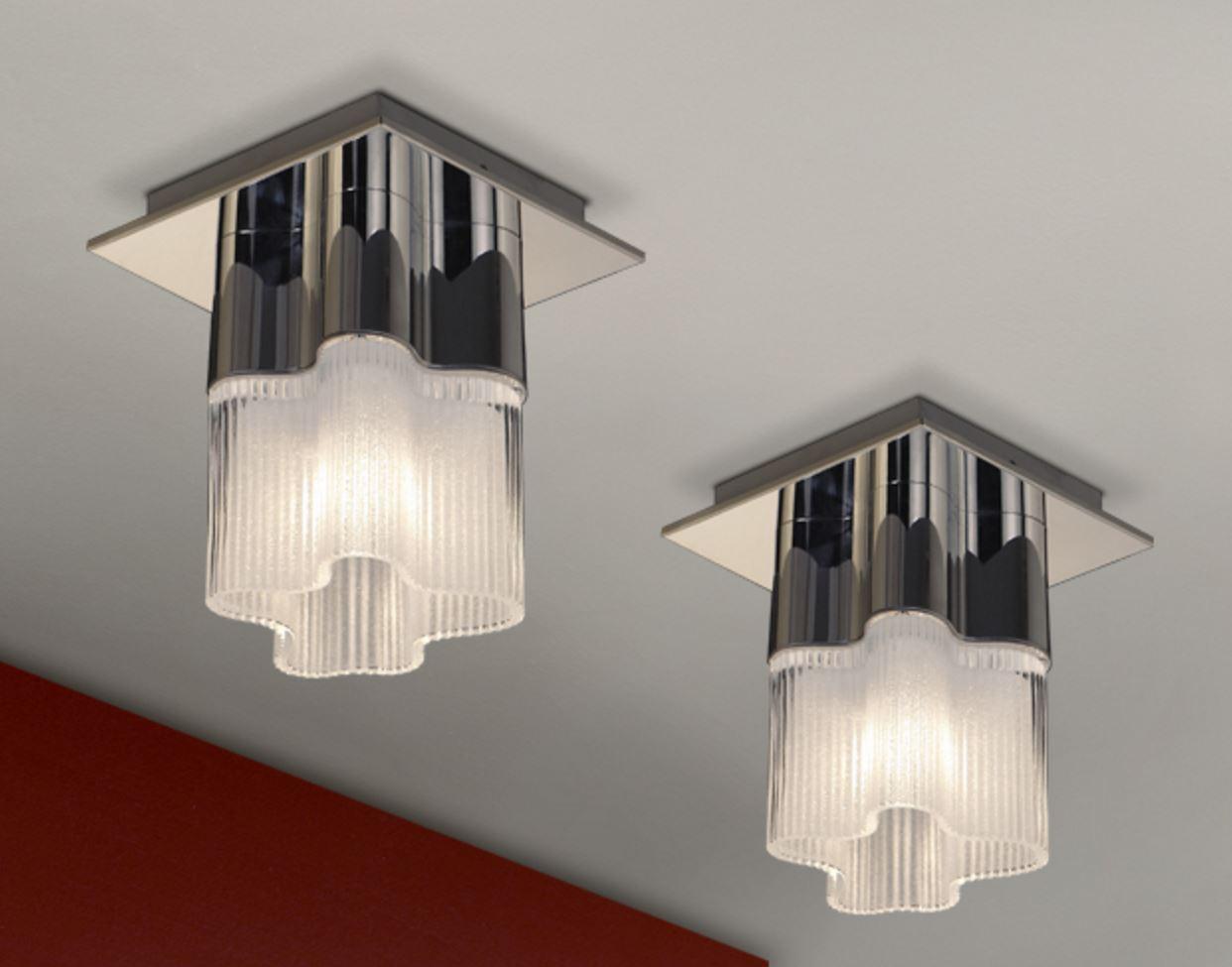 Flor ceiling lamp 23x19cm 1xG9 40W - steel brillo lampshade Glass matizado