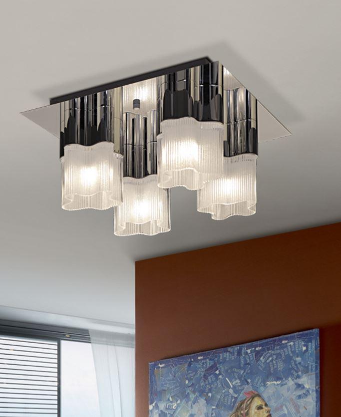 Flor ceiling lamp 23x45cm 4xG9 40W - steel brillo lampshade Glass matizado