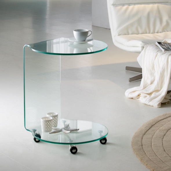 Glass auxiliaryy table round 60x45cm - Transparent