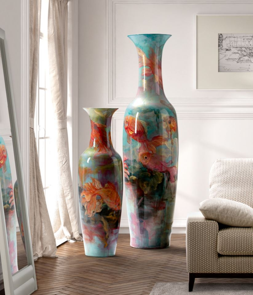 Goldfish Vasija Large 185x50cm - ceramics pintada to mano