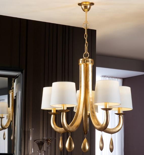 Gracia Lámpara Colgante 70x70cm 5xLED 20W - Pan de Oro y blanco