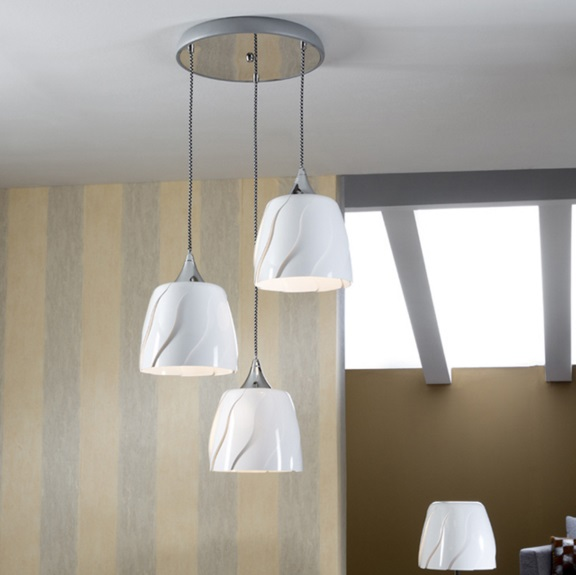 Helike Pendelleuchte Runde LED E27 3x20W weiß glänzend