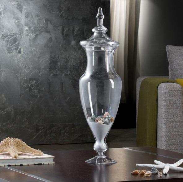 Jarrón Glass with lid 18X64cm