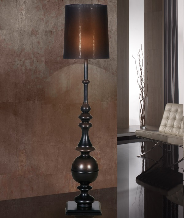 June Floor Lamp 1xE27 LED 10W - Structure black Satin with black lampshade