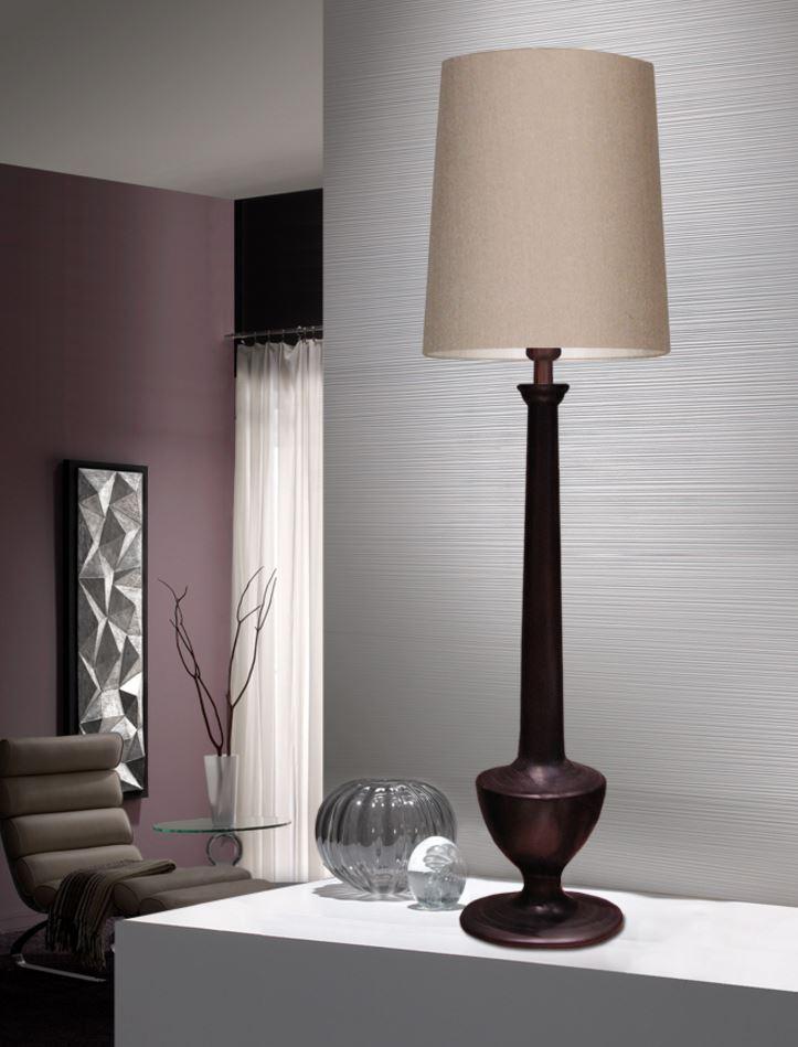 Katel Table Lamp 126x35cm 1xE27 LED 10W - Black anticuario lampshade beige