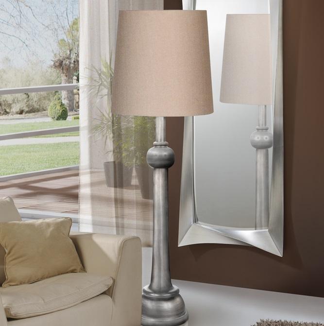 Lida Lámpara de Pie 177x55cm 1xE27 LED 10W - Plata envejecida pantalla textil beige