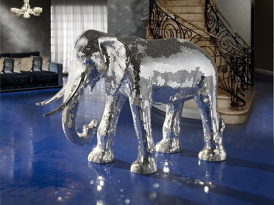 Elefante Figura espejo Plata