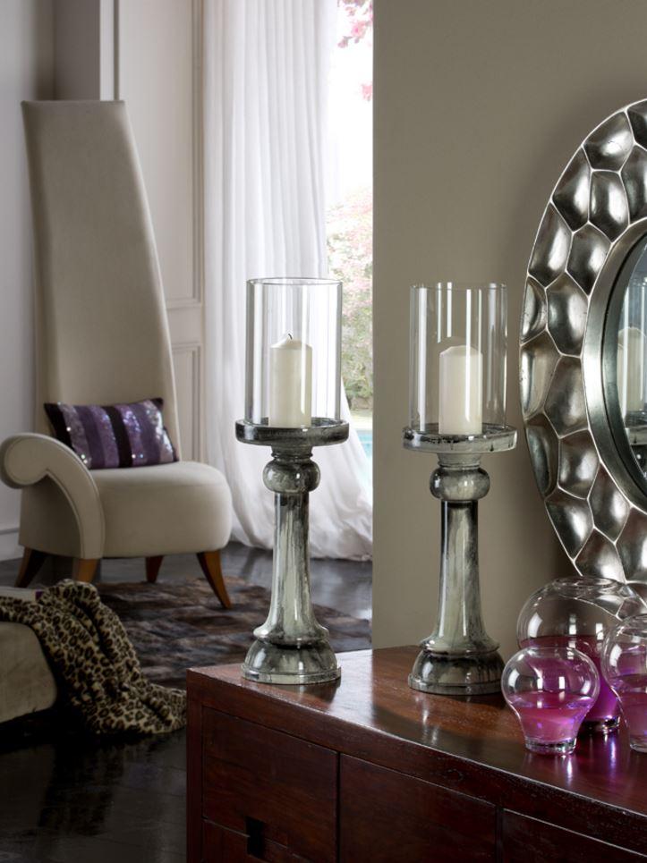 Mathis Candelero 62,5x17cm - Wood lacada onix brillo lampshade Transparent glass