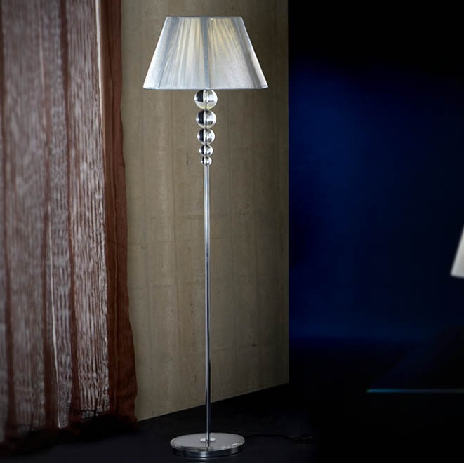 Mercury Floor Lamp 165x46cm 1xE27 LED 10W - Chrome lampshade Silver