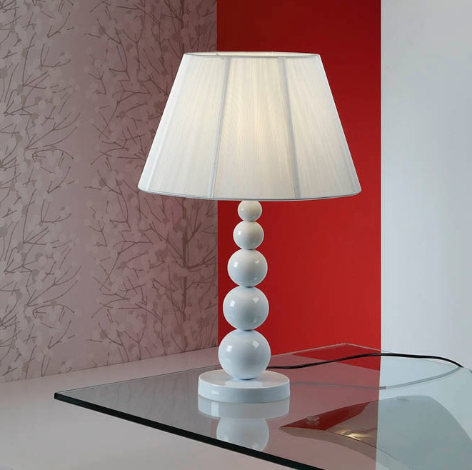 Mercury Table Lamp Large 1xE27 LED 10W 39x25cm - white bright white lampshade