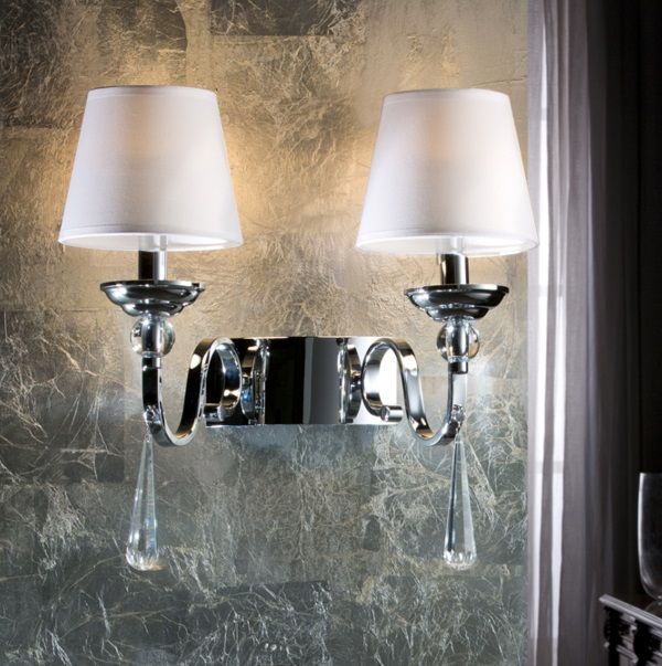 Mercury II Applique 40x41cm 2xE14 LED 4W - Chrome abat-jour blancs