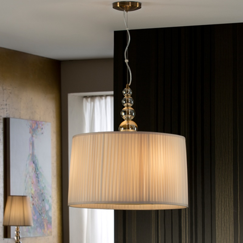 Mercury Lampe Suspension 55x50cm 3xLED 10w - Champán