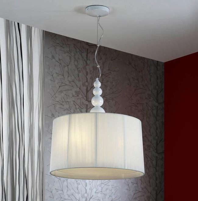 Mercury Pendelleuchte 55x50cm 3xE27 LED 10W - weiß glanz weißen lampenschirm
