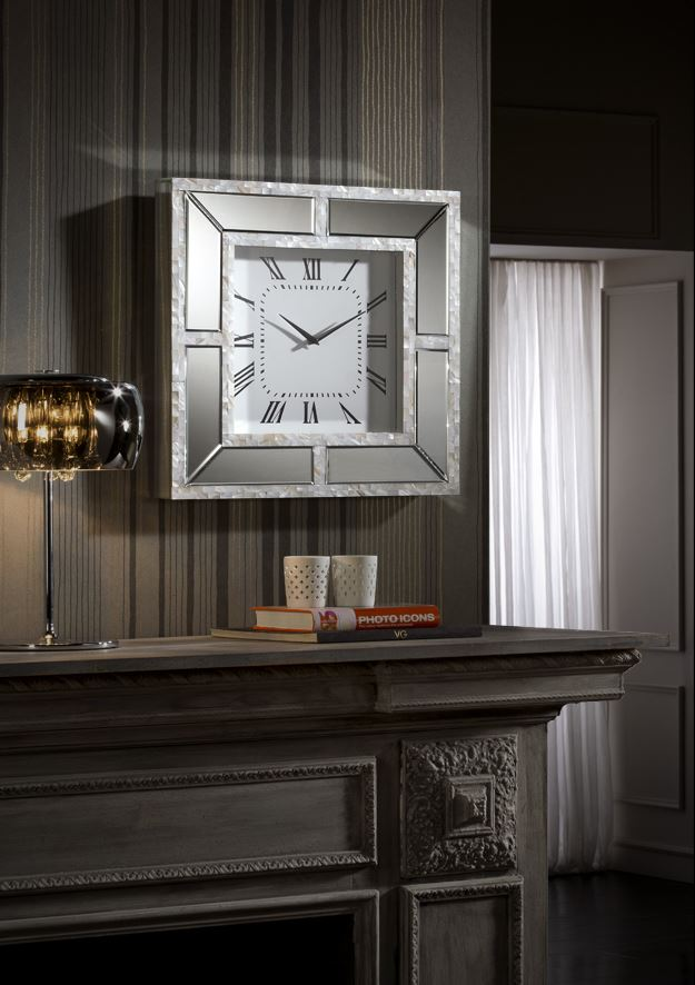 Nacar Reloj of wall 50x50cm - mirror and Strips of nácar