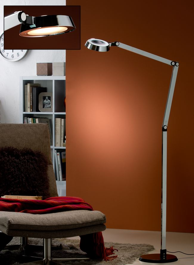 Naria Floor Lamp 145x65cm LED 10W dimmable - Chrome and Black