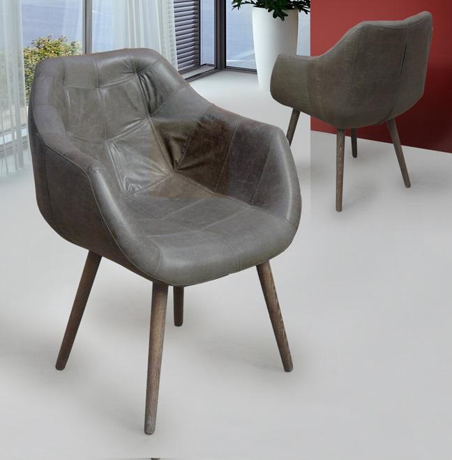 Orly fauteuil 87x65cm Bois avec pátina blanc - Gris ceniza