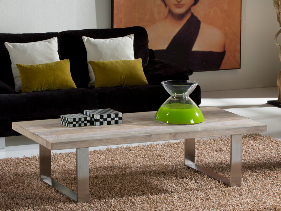 Pirena 200 dining table Steel and antique wood