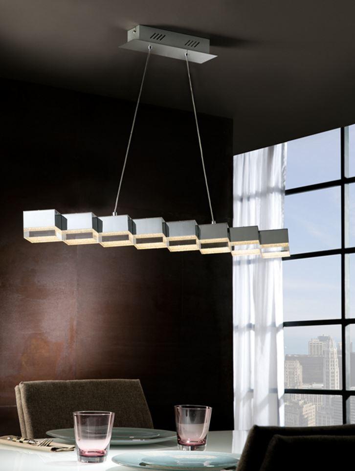 Prisma Lámpara Colgante 10x94cm 8xLED 34W regulable - Acrílico transparente