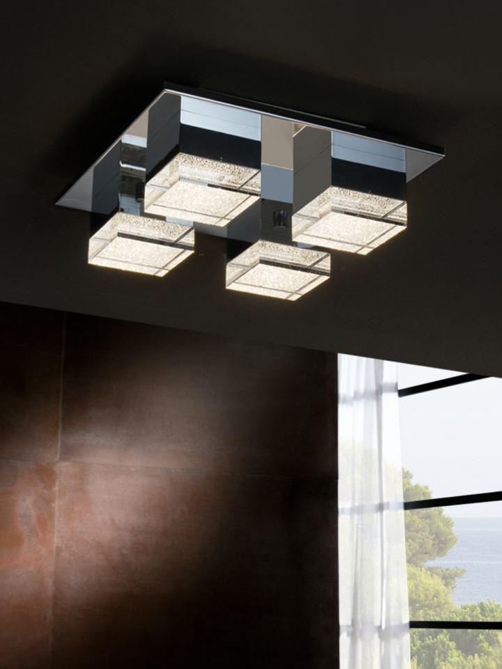 Prisma ceiling lamp 12x32cm 4xLED 17W - Transparent acrylic